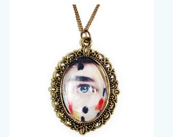 Eye Glass Dome Cameo Pendant Gold Necklace