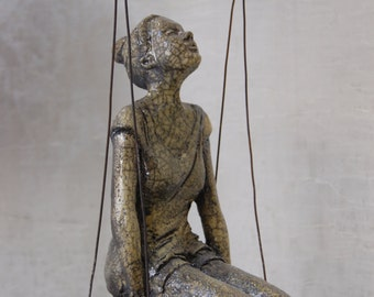 Sitting girl - Yellow glazed ceramic - 12x20x35cm