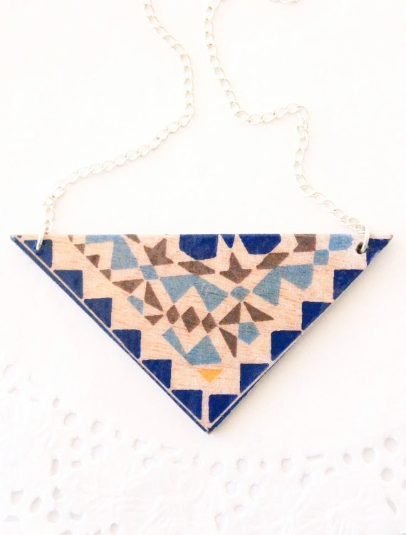 Mosaic wooden neckalce / Geometric necklace / decoupage necklace / wooden jewelry / boho chic necklace / blue necklace /