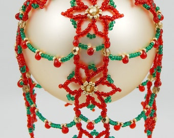 Cascading Poinsettia's Beaded Ornament Cover Pattern