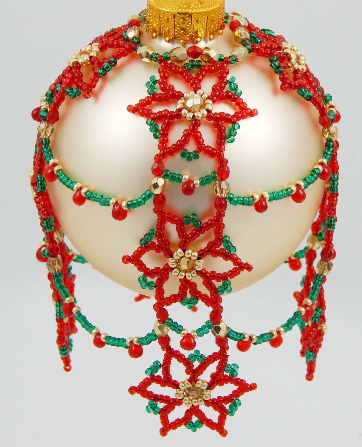 cascading poinsettia s beaded ornament cover pattern