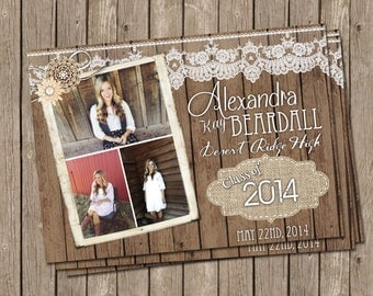Rustic Graduation Announcement with Burlap, Wood and Lace - printable 5x7