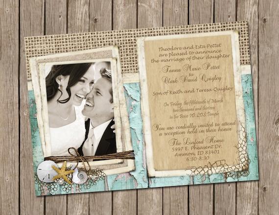 Beach Wedding Invitation, Bridal shower, Rustic, Shell, Sand dollar, Starfish,Pearl, Photo, Digital file, Printable