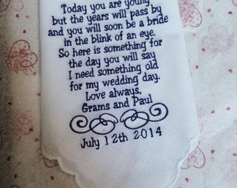 Customized Flower Girl Handkerchief keepsake