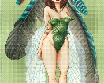 Cross Stitch Chart Fairy In Feathers Pascal Moguerou Fantasy Art