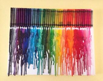 Rainbow Melted Crayon Art •Customizable• 11X14 inch canvas