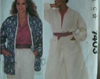 Misses Coat or Jacket Size 18-20 McCall's Make It Tonight - Wear It Tomorrow Pattern 7403 Vintage 1981
