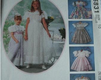 Girls Formal Dresses Girls Size 10 McCalls Kitty Benton Gourmet Sewing Pattern 5831 Mint UNCUT Pattern 1992