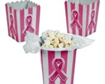 Breast cancer supprt Mini popcorn treat boxes, pink & white, fundraiser, race, marathon, luncheon, favor box, pink and white, party favor