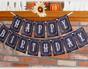 Happy Birthday Printable Banner - DIY - Chalkboard style
