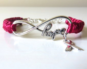 Burgundy Awareness Ribbon HOPE Macrame Bracelet Multiple Myeloma Oral Cancer Brain Aneurysm Migraine Amyloidosis Disabled Adults