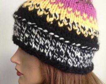 Hand Knit Beanie Designer Original Fashion Hot Pink Black White Women Teens Hip Modern