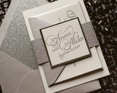Silver Glitter Wedding Invitation, Calligraphy Invitation, Silver Invitation - Deposit to Get Started