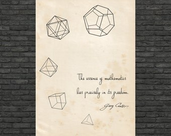 Science art - Mathematics - Cantor quote and the five Platonic Solids poster