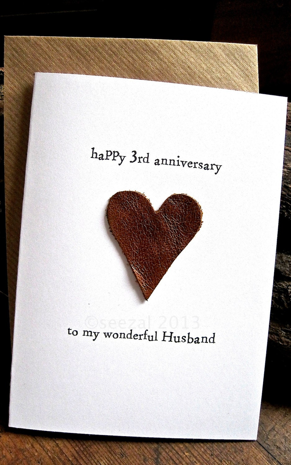 3rd Year Wedding Anniversary Gifts: 3rd Wedding Anniversary Card HUSBAND Traditional Gift LEATHER