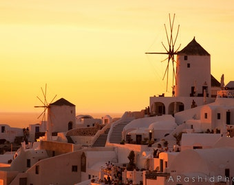 Santorini Greece Orange Sunset Photography Print Art Oia