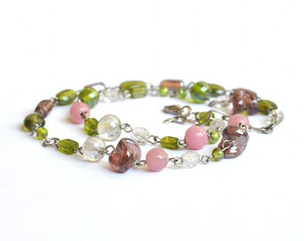 Vintage Glass Strand Necklace - Chain Beaded Necklace with Artisan Lampwork Beads