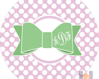 Personalized children's lavender and green bow monogrammed plate. A custom and FUN gift idea! Kids love eating on personalized plates!