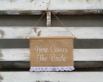 Here Comes the Bride Burlap Banner, Rustic Wedding Decor, Burlap Wedding Sign, Flower Girl Sign
