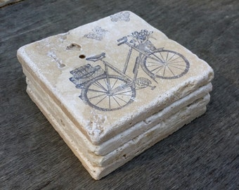 Hand Stamped Bicycle Stone Tile Coaster Set of 4, Rustic Table Decor, Rustic Wedding Favor, Hostess Gift, Birthday Gift, Drink Coasters