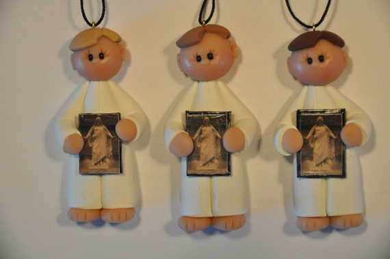 LDS baptism ornament with picture of Christ