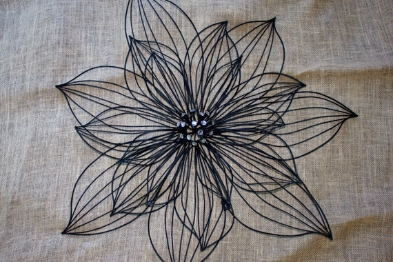 Wrought Iron Wall Decor Flowers : Black wrought iron floral wall art by ilovevintage on etsy