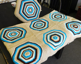 Vibrant Handmade Afghan & Pillow