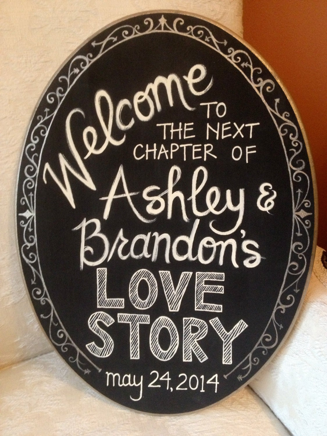 Hand Painted Welcome Sign For Bridal Shower Or Wedding