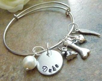 Dog memorial bracelet Pet memorial jewelry Personalized Pet Memorial Bracelet Bone Expandable Hand stamped Jewelry