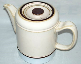 """Vintage 1970 DENBY England MADRIGAL Pottery 7"""" Coffee Pot with Cover"""