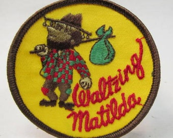 WALTZING MATILDA jacket or shirt patch.  embroidered cloth