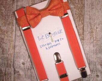 Orange Bow Tie and Suspenders: Orange  Bow Tie, Orange Suspenders, Toddler Suspenders, Ring Bearer