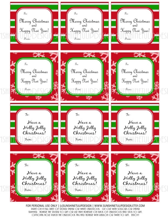 Christmas Printable Diy Gift Tags Stickers By
