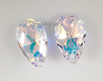 6106 CRYSTAL AB 22mm Swarovski Crystal Teardrop Pendant 2pcs or 6pcs Large Special Effect