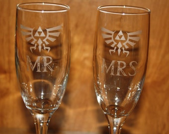 Etched Legend of Zelda Inspired Champagne Flutes