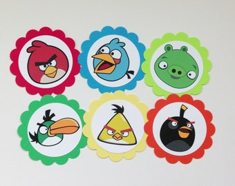 ANGRY BIRDS Gift Tags & Cupcake Toppers (12ct)