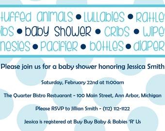 Girl or Boy Polka Dot Baby Shower Inviation