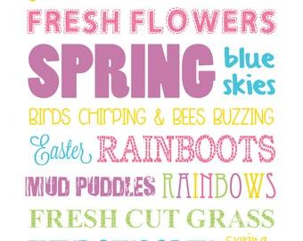 Spring Word Art Print