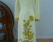 1960s-70s Alfred Shaheen Yellow Dress
