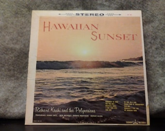 Sale! Hawaiian Sunset Richard Kauhi and The Polynesians. Vintage vinyl LP 33 1/3 record album. 1963 Crown Records CST 304 stereo