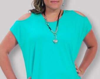 Plus Size Tank Top | Open Shoulder Scoop Neck w/ Dramatic Back Eyelit , 1x 2x 3x Clothing