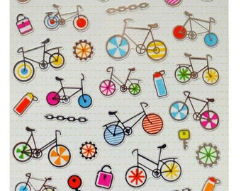 Korean Scrapbook  Stickers, Colorful bicycle