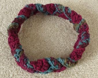 Crochet Headband, Womens Teens Headband, Burgundy Teal Loden Olive, Muted Woodland Colors, Winter Ski