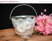 On Sale ON SALE Wedding Decor, Shabby Cottage Decor, Shabby and Chic, Rustic Country Wedding, Rustic Decor, Flower Girl Basket, Flower Pail,