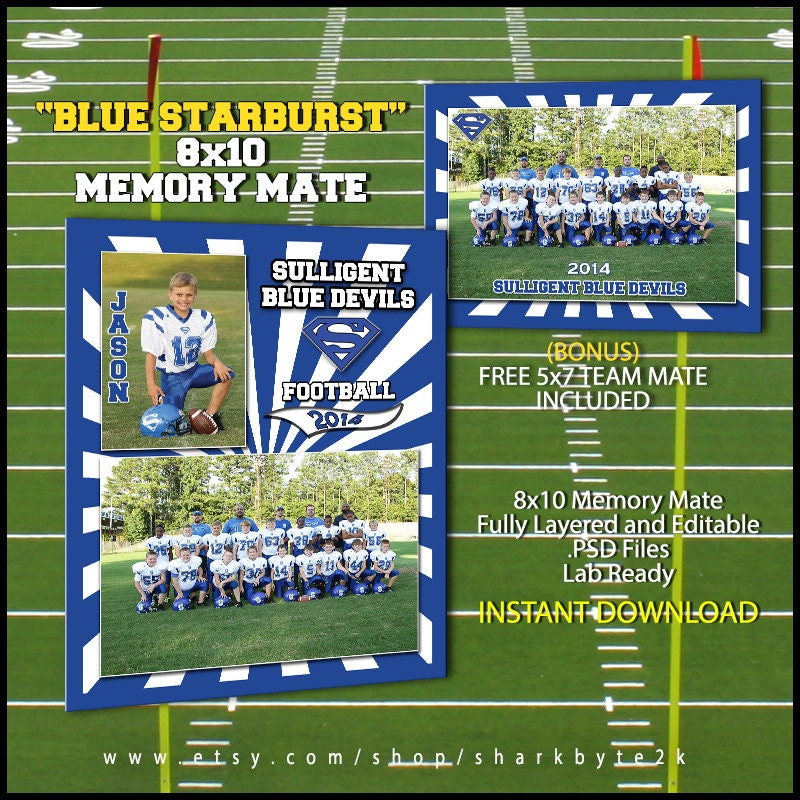 2017 football sports memory mate template for photoshop blue. Black Bedroom Furniture Sets. Home Design Ideas