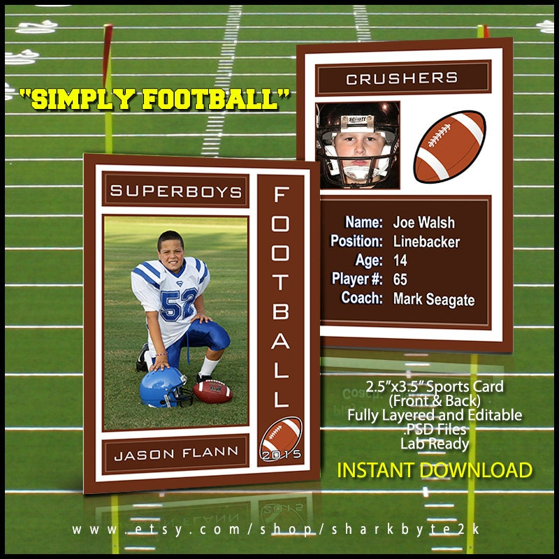2017 football sports trading card template for photoshop. Black Bedroom Furniture Sets. Home Design Ideas