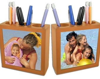 Custom  Photos Pencil Holder- wooden with ceramic tiles.. Must See