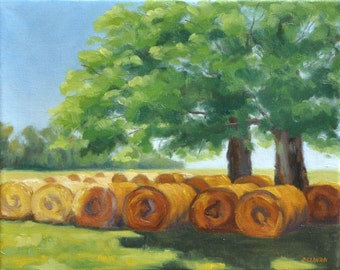 """Hay Bale Painting-Oil on Canvas-""""In the Cool of the Shade"""""""