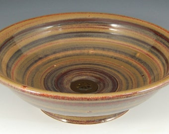 """E. C. Racicot Art Sink Handmade One of a Style Stoneware Pottery Vessel Sink in AL3 Glaze Appx 15"""" wide by 4-5/8"""" tall Stock #012084"""