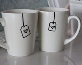 """Drinking Mugs For Couples Hand Decorated """"Match made for Tea"""""""